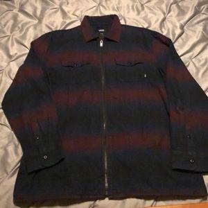 Men's Blue and Dark Red Flannel Zip-up shirt